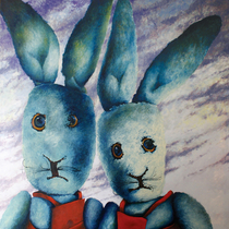 "Dean Hills ""Two Hares"" 2009, oil on canvas, 230 x 230 cm"